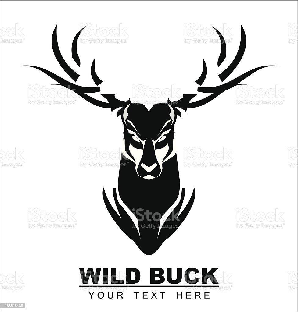 Wild Black Buck vector art illustration