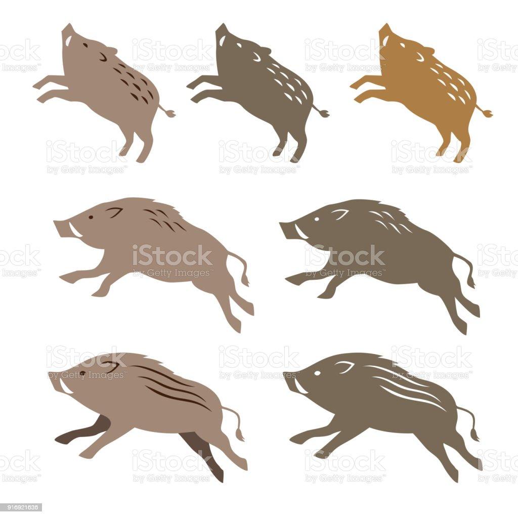 野生のイノシシの動物イラスト - イラストレーションのベクターアート