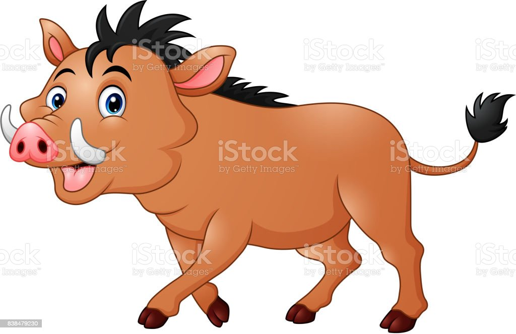 Wild boar cartoon vector art illustration