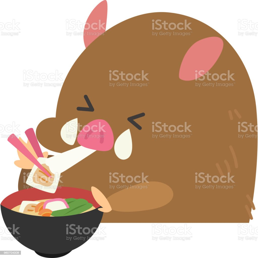 野生のイノシシを食べるお雑煮 ベクターアートイラスト