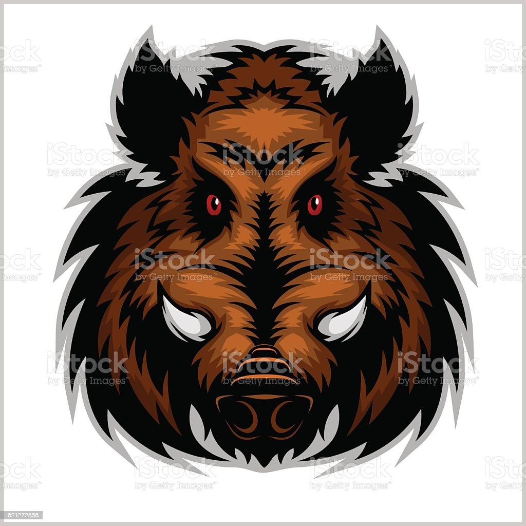 Wild Boar Head Logo Mascot Emblem vector art illustration