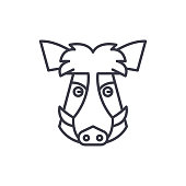 wild boar head vector line icon, sign, illustration on background, editable strokes