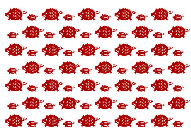 wild boar pattern - year of the pig stock illustrations, clip art, cartoons, & icons