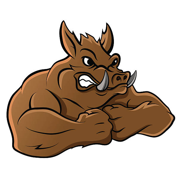 wild boar - pig ugly stock-grafiken, -clipart, -cartoons und -symbole