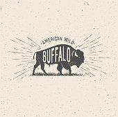 Wild Buffalo. Vintage styled vector illustration of the american buffalo. Stamp