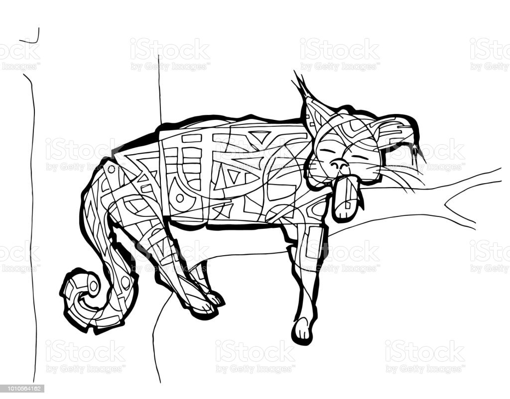 Wild Cat Coloring Page Stock Vector Art & More Images of Abstract ...