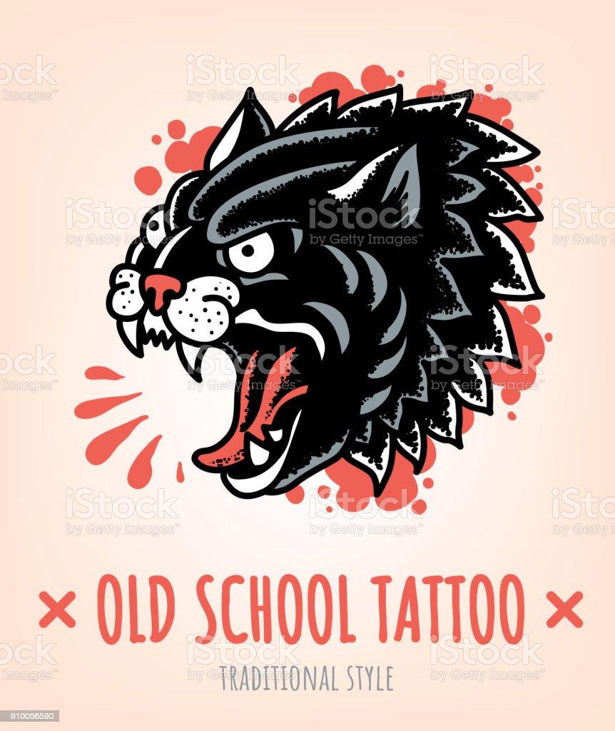 Bocetos De Tatuajes Tradicionales ilustración de wild cat old school tatuaje tradicional y más