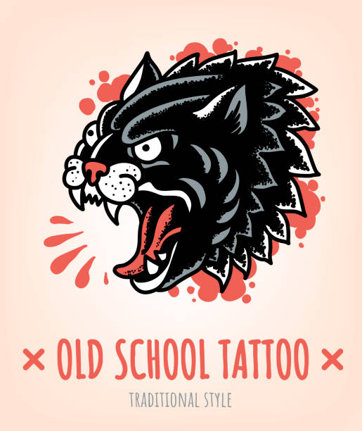 illustrations, cliparts, dessins animés et icônes de wild cat old school tattoo style traditionnel - tatouages animaux