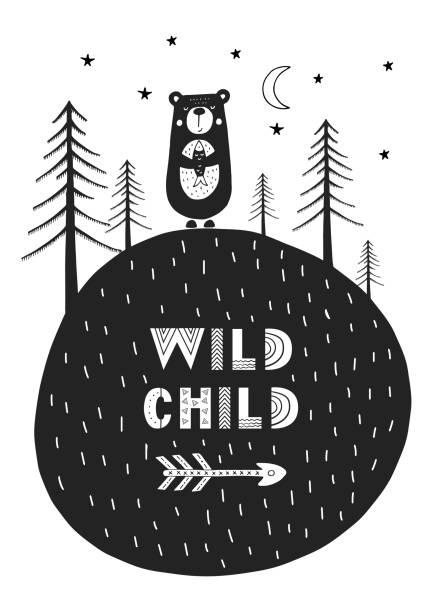 Niño salvaje - cartel de vivero dibujado mano lindo con dibujos animados de animales y letras en estilo escandinavo. - ilustración de arte vectorial
