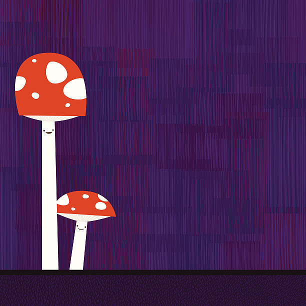 Wild cute mushrooms vector art illustration