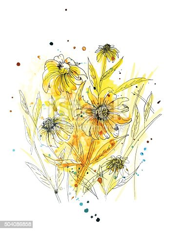 Hand painted watercolor wildflower or weed in yellows