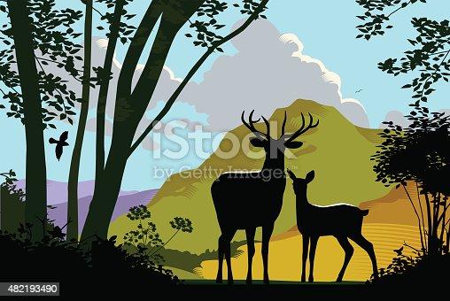 Landscape with wild deer. eps10 file, CS5 version in zip.