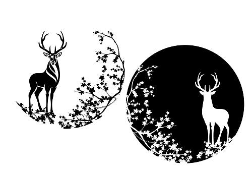 wild deer stag standing among sakura blossom branches - elegant animal wildlife black and white vector circle design set
