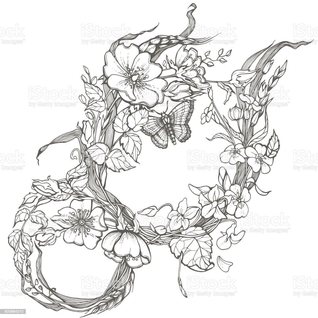 Ilustración De Rosa Salvaje Perro Flores Marco De Página De