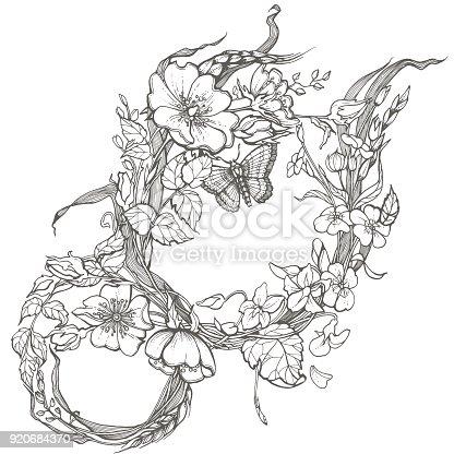 Fleurs Déglantier Sauvage Cadre Coloriage Adulte Encre