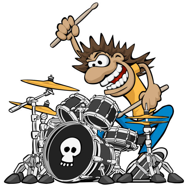 wild drummer playing drum set cartoon vector illustration - talerz perkusyjny stock illustrations
