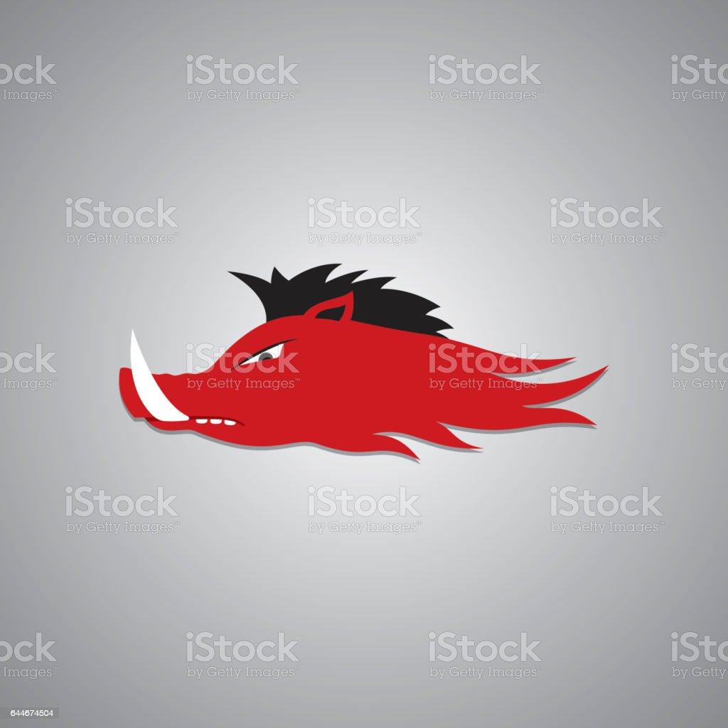 Wild Fire Hog head Mascot, sport team logo vector art illustration
