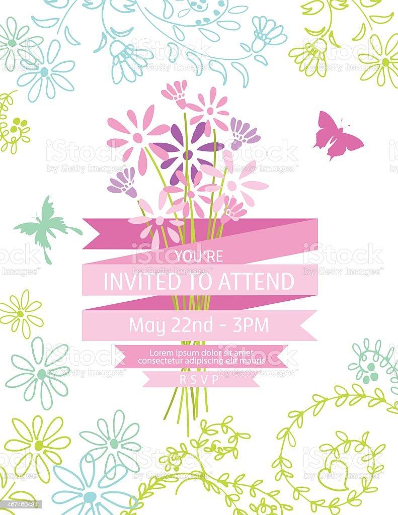Wild Blume Bouquet Einladung Vorlage Für Gartenparty Oder Feier  Lizenzfreies Vektor Illustration