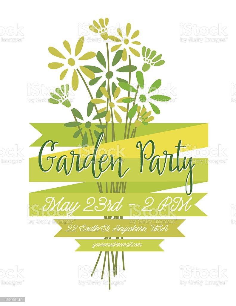 Wild Flower Bouquet Invitation Template for Garden Party or Celebration vector art illustration