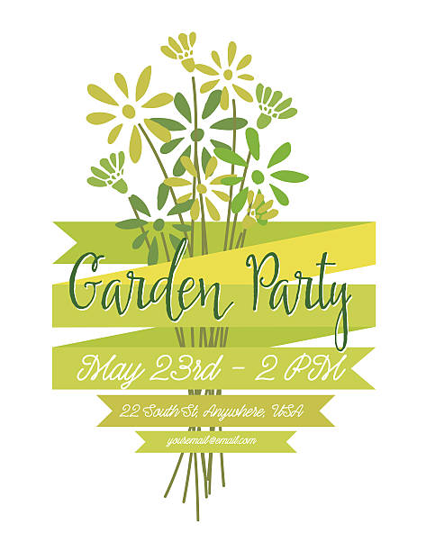 Wild Flower Bouquet Invitation Template for Garden Party or Celebration vector art illustration