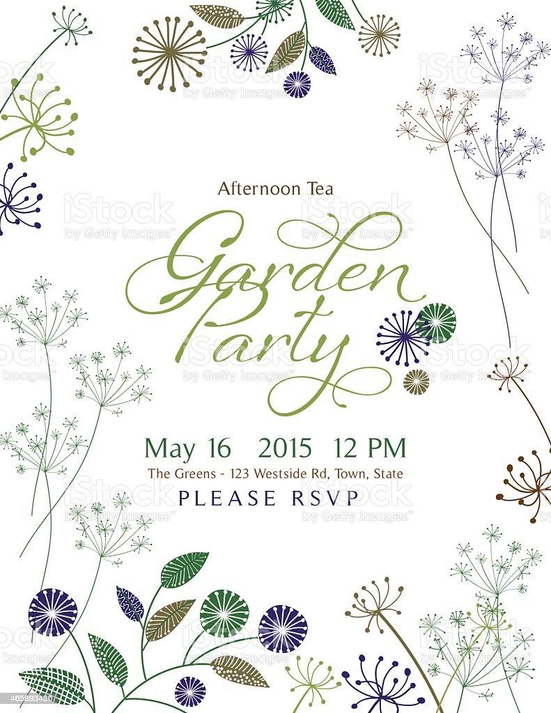 Wild Flower Design Garden Party Invitation vector art illustration