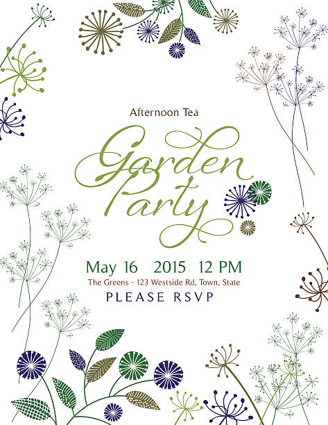 Wild Flower Design Garden Party Invitation vector art illustration