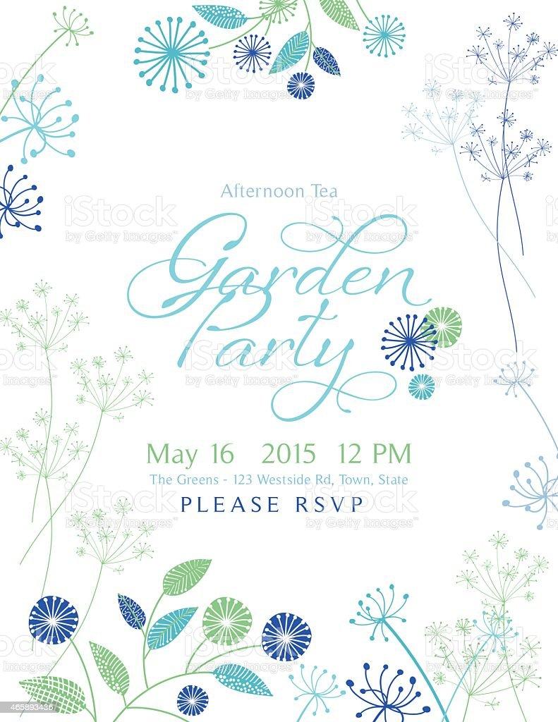 Wild Blume Design Garten-Party-Einladung – Vektorgrafik