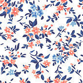Wild flowers background. Simple flat drawing. Floral seamless pattern made of meadow plants and flowers. Summer nature ornament. Modern flat design. Fashion style for textile and fabric.