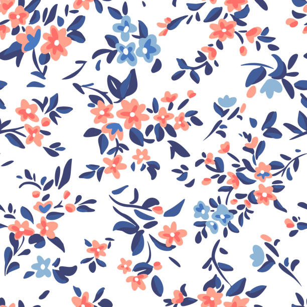 Wild flowers background. Simple flat drawing. Floral seamless pattern made of meadow plants and flowers. Summer nature ornament. Modern flat design. Fashion style for textile and fabric. Wild flowers background. Simple flat drawing. Floral seamless pattern made of meadow plants and flowers. Summer nature ornament. Modern flat design. Fashion style for textile and fabric. flower head stock illustrations