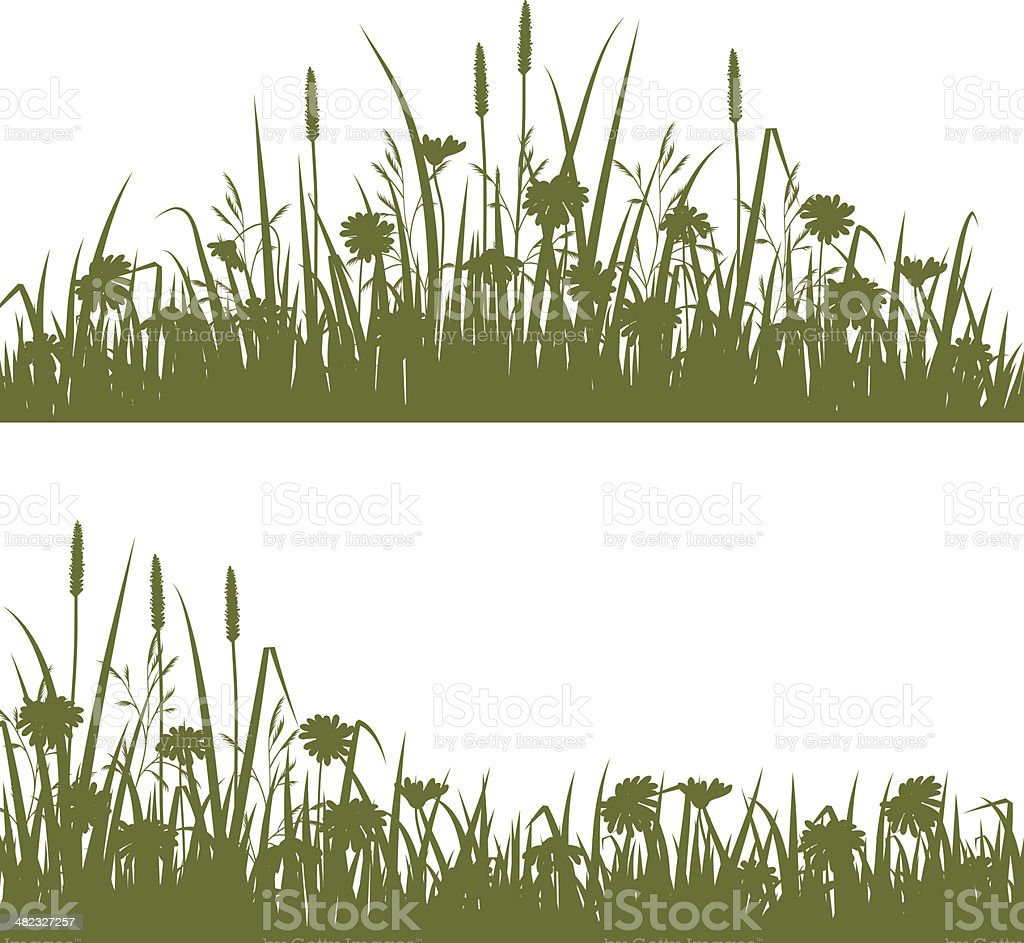 Wild flowers silhouette vector art illustration