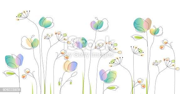 istock wild flowers - watercolor illustration 926223928