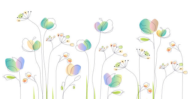 wild flowers - watercolor illustration vector art illustration