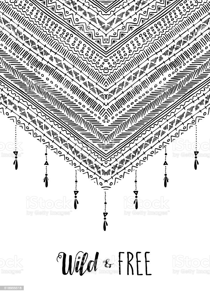 Wild free boho design in black and white vector art illustration