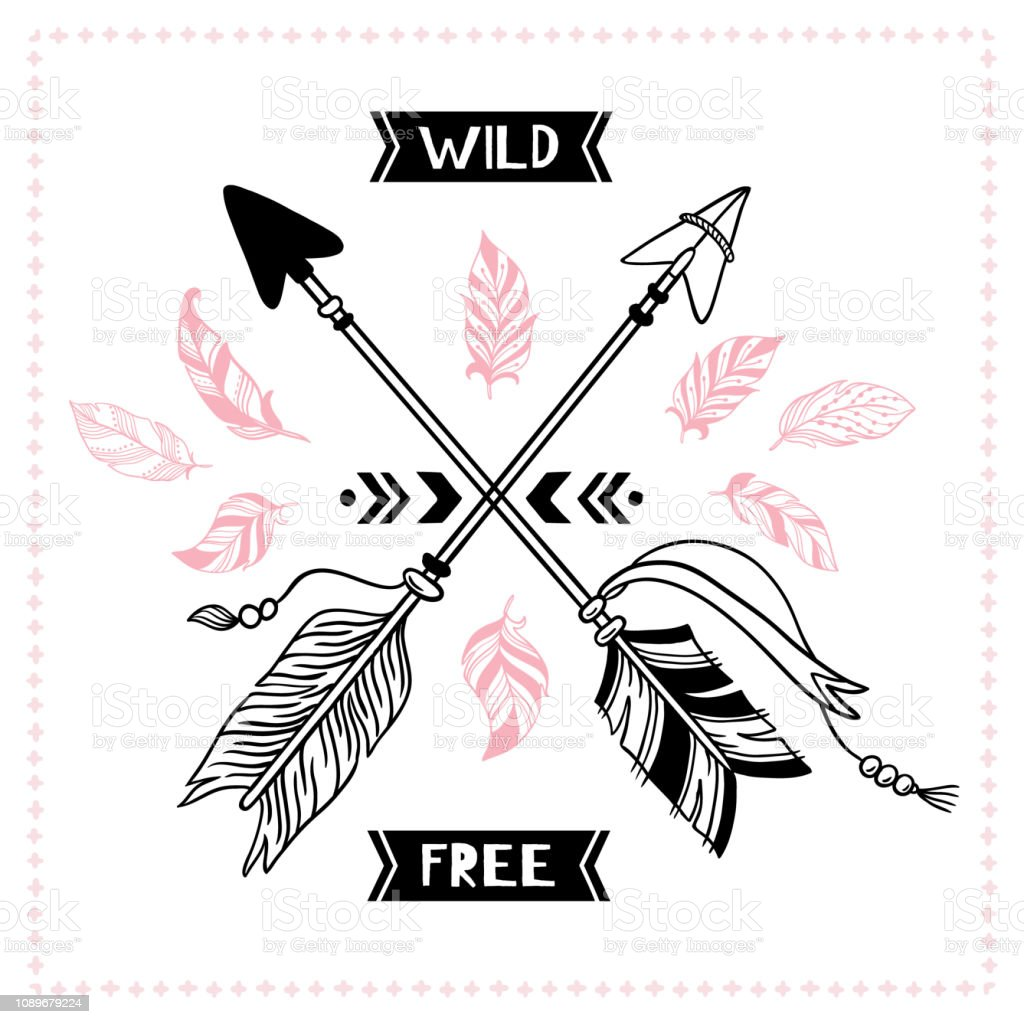 Wild Free Poster Indian Tribal Cross Arrows American Apache