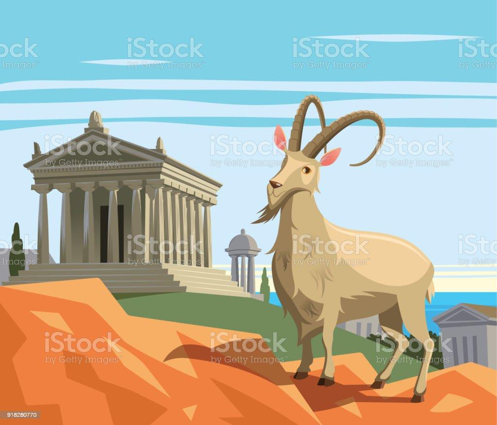 Wild goat in ancient Greek polis vector art illustration
