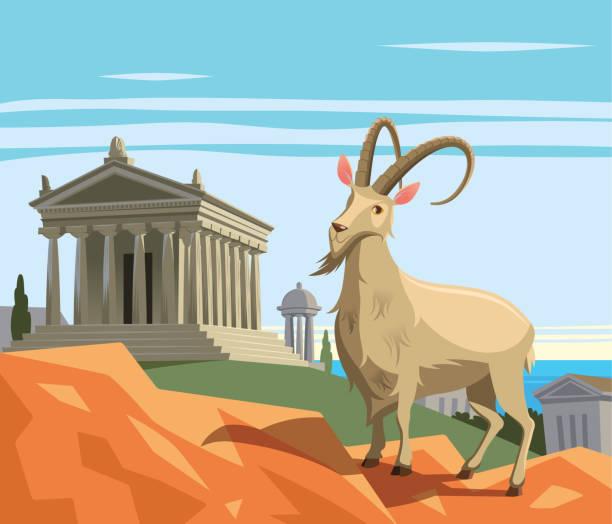 stockillustraties, clipart, cartoons en iconen met wilde geit in oude griekse polis - athens