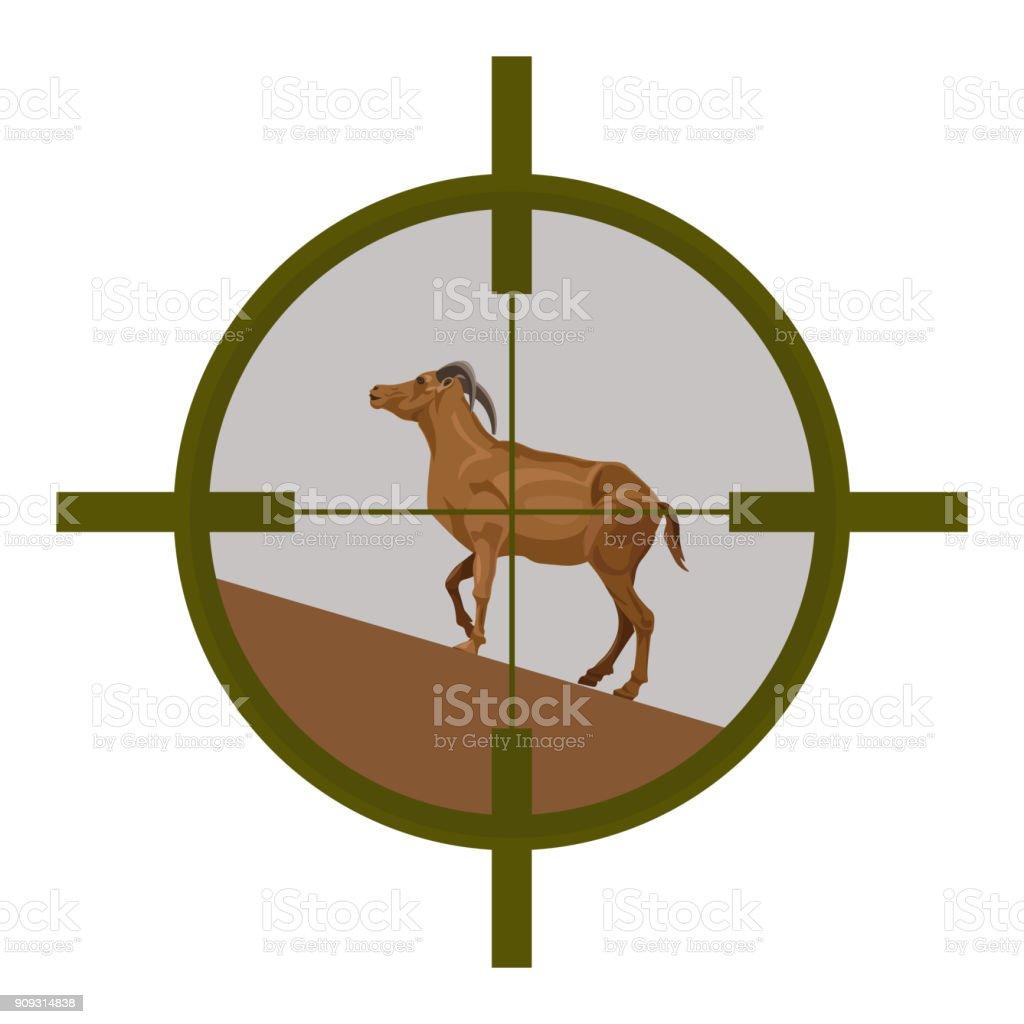 Wild goat in sight vector art illustration