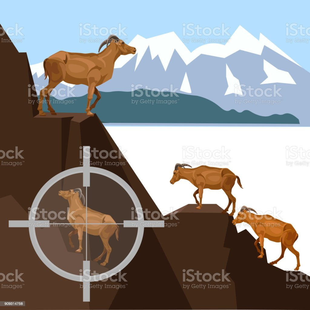 Wild goats in the mountains vector art illustration