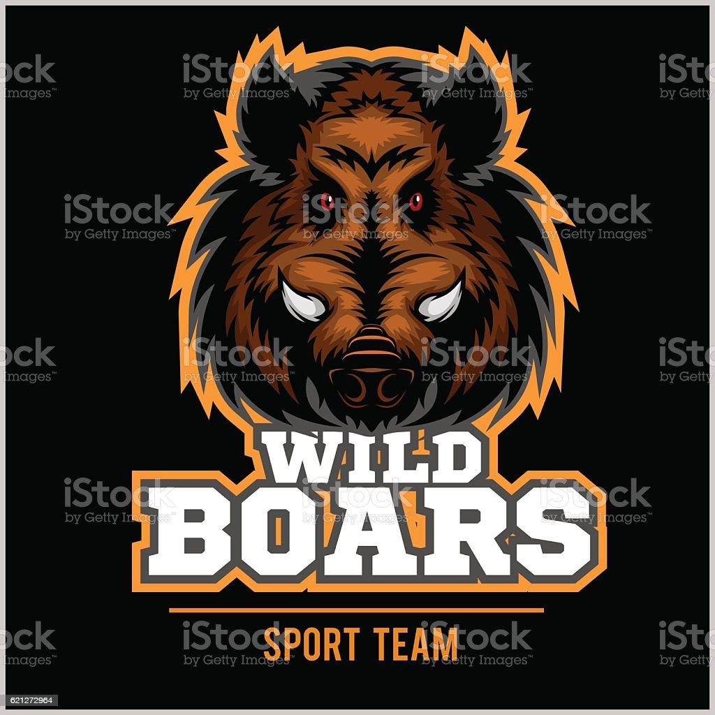 Wild Hog head Mascot vector art illustration