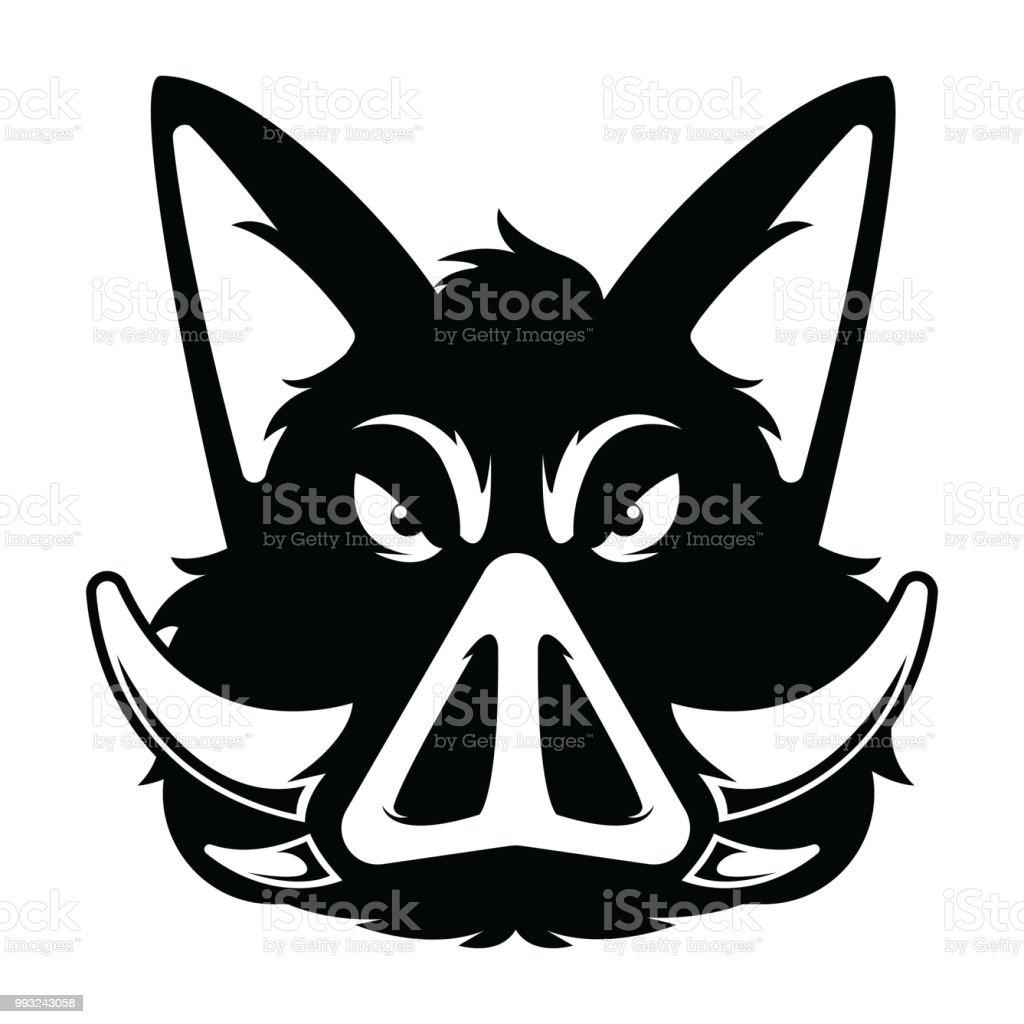Wild Hog Or Boar Head Mascot Silhouette Stock Vector Art & More ...