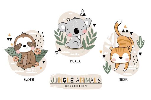 Wild home pets set. Wild animals tiger koala sloth character. Jungle animals cute icon design. Hand drawn cartoon illustration. Surface design.