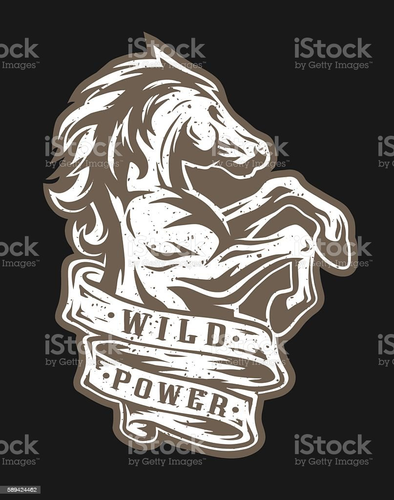 Wild horse and ribbon for text. vector art illustration