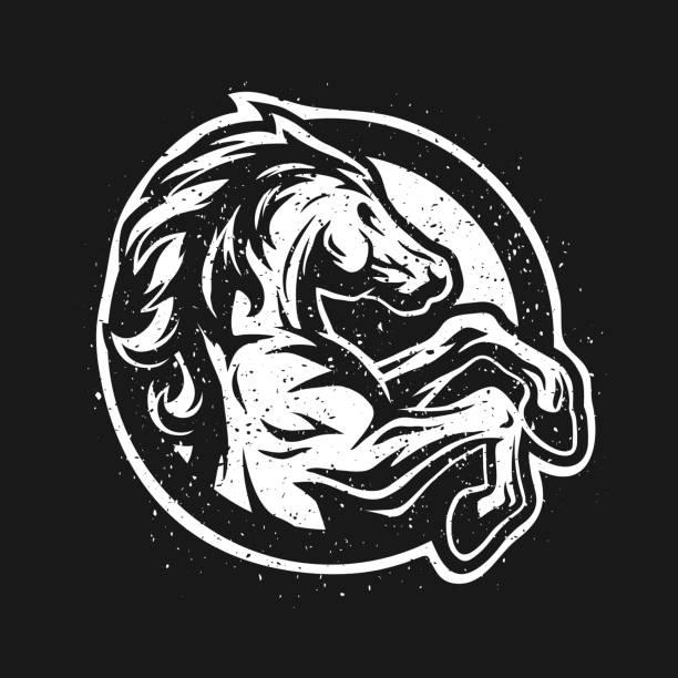 wildpferd, logo, symbol. - mustangs stock-grafiken, -clipart, -cartoons und -symbole