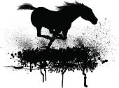 "Wild Horse. Grunge style silhouette illustration of a Horse running. Layered for easy color changes. Check out my ""Vectors Animals & Insects"" light box for more."