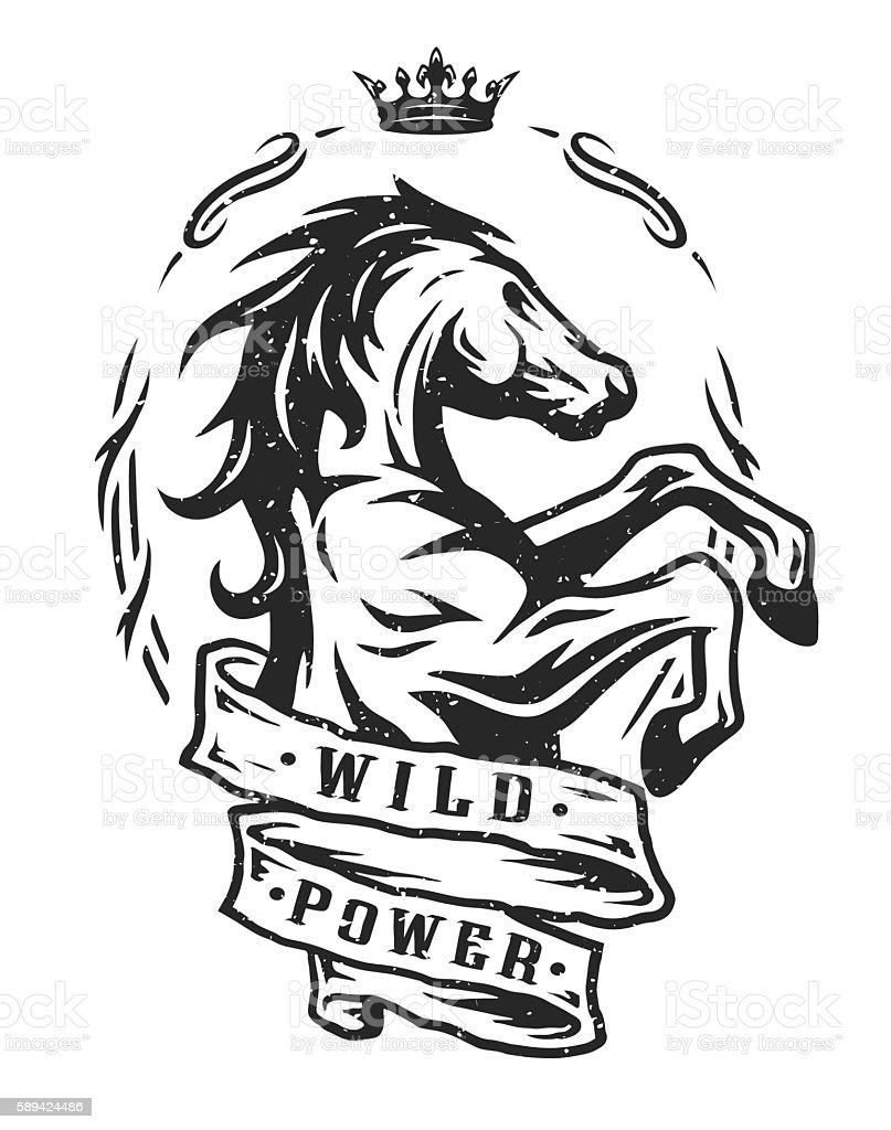 Wild horse. Vintage emblem. vector art illustration