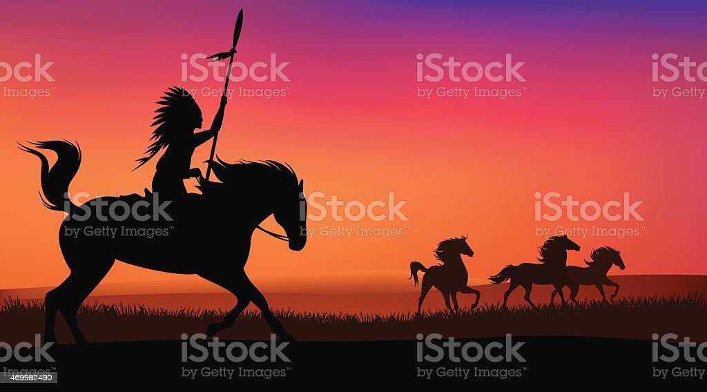 wild horses and indian vector art illustration