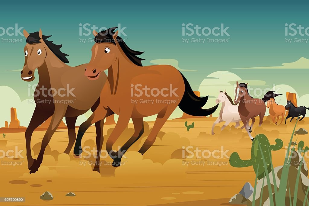 Wild Horses Running on the Desert vector art illustration