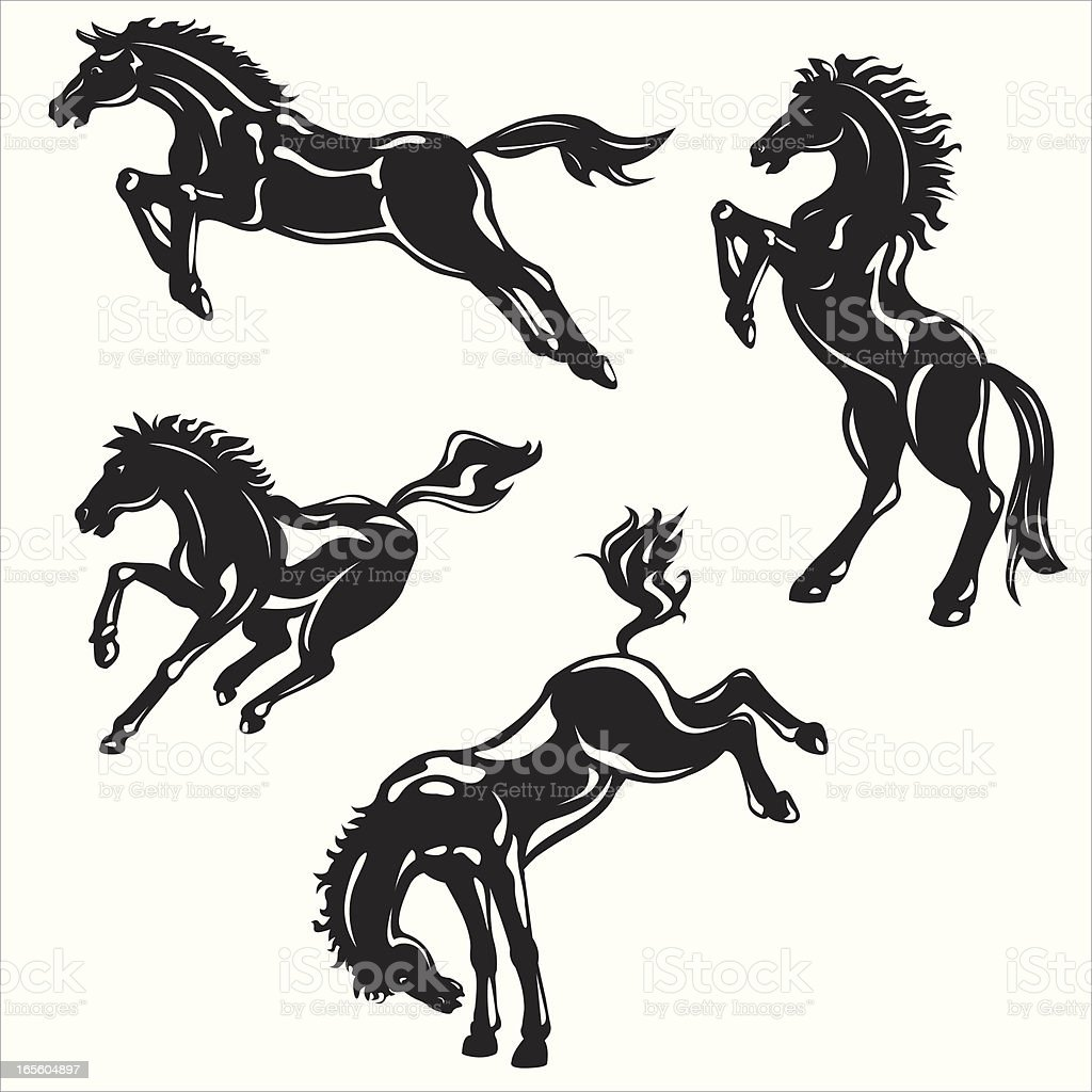 wild horses Silhouette vector art illustration