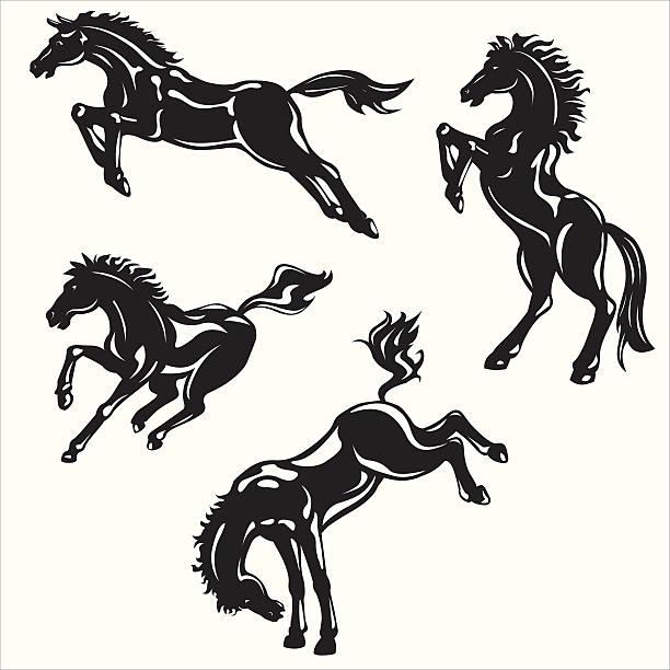 wild horses Silhouette vector art illustration