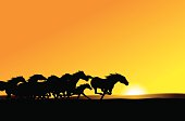 "Wild Horses - Stampede Background. Grunge style silhouette illustration of a Horse rearing. layered for easy color changes. Check out my ""Farming"" light box for more."